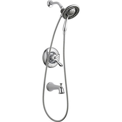 Delta Linden Chrome Tub and Shower Handheld & Shower Head, Includes Valve D979V