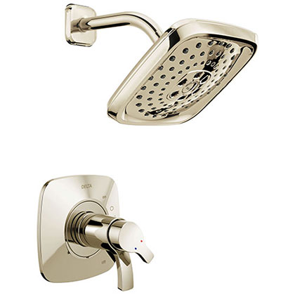 Delta Tesla Collection Polished Nickel TempAssure 17T Series Modern Dual Temp and Pressure Control Shower Faucet Includes Rough-in Valve without Stops D1938V