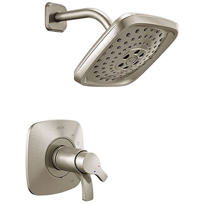 Delta Tesla Collection Stainless Steel Finish TempAssure 17T Modern Dual Temp and Pressure Control Shower Faucet Includes Rough-in Valve without Stops D1936V