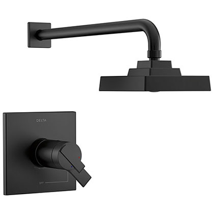 Delta Ara Matte Black Finish TempAssure 17T Thermostatic Shower only Faucet Includes Handles, Cartridge, and Valve without Stops D3285V