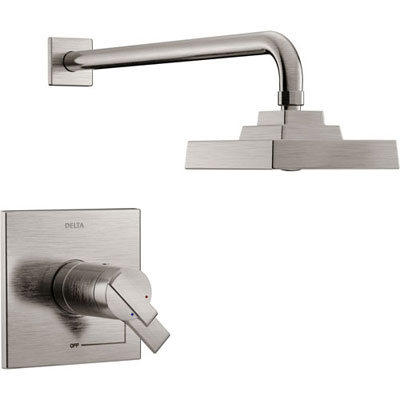 Delta Ara Modern Stainless Steel Finish TempAssure 17T Shower Only Faucet with Dual Temperature and Pressure Control INCLUDES Rough-in Valve D1104V