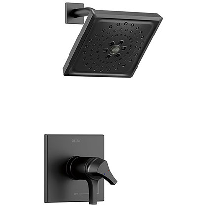 Delta Zura Matte Black Finish TempAssure 17T Series Shower only Faucet Includes Handles, Cartridge, and Rough-in Valve without Stops D3002V