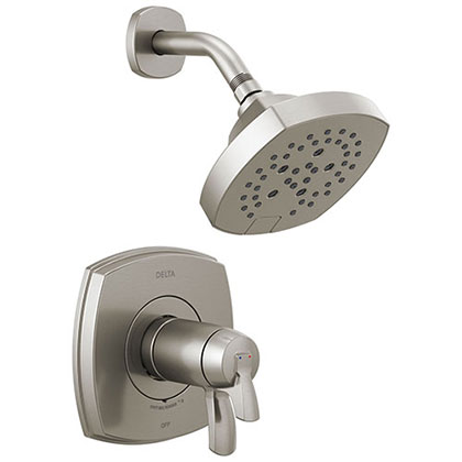 Delta Stryke Stainless Steel Finish 17T Thermostatic Shower Only Faucet Includes Cartridge, Handles, and Rough-in Valve with Stops D3278V