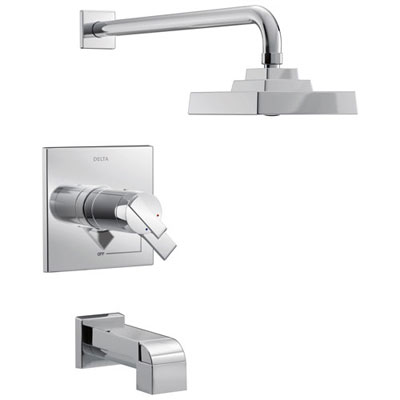 Delta Ara Collection Chrome Modern Thermostatic TempAssure 17T Series Tub and Shower Combination Faucet Includes Valve without Stops D2223V