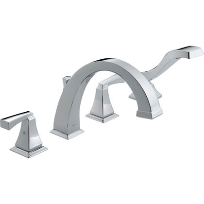 Delta Dryden Deck-Mount Chrome Roman Tub Faucet with Handshower and Valve D863V