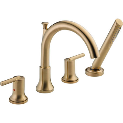 Delta Trinsic Champagne Bronze Roman Tub Faucet with Handshower and Valve D872V