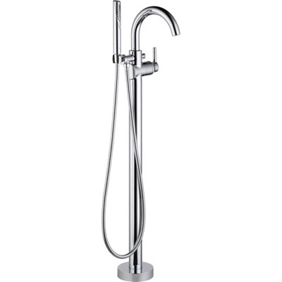 Delta Trinsic Chrome Floor Mount Freestanding Tub Filler Faucet with Valve D932V