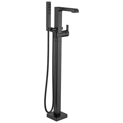Delta Ara Matte Black Finish Freestanding Floor Mount Tub Filler Faucet with Hand Shower Includes Handle, Cartridge, and Valve D3613V