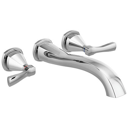 Delta Stryke Chrome Finish 2 Lever Handle Wall Mounted Tub Filler Faucet Includes Rough-in Valve D3013V
