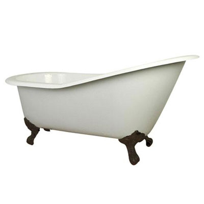 61-inch Small Cast Iron White Slipper Clawfoot Bathtub with Oil Rubbed Bronze Feet