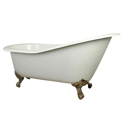 61-inch Small Cast Iron White Slipper Clawfoot Bathtub with Satin Nickel Feet