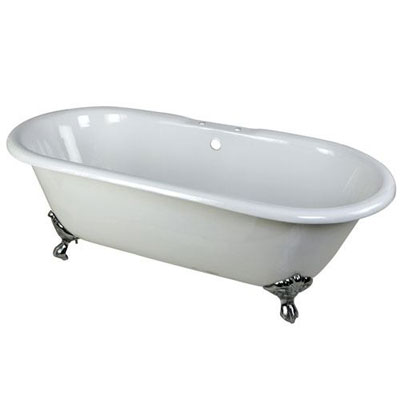 66-inch Large Cast Iron Double Ended White Clawfoot Bathtub with Chrome Feet