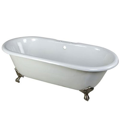 66-inch Large Cast Iron Double Ended White Claw Foot Bathtub with Satin Nickel Feet