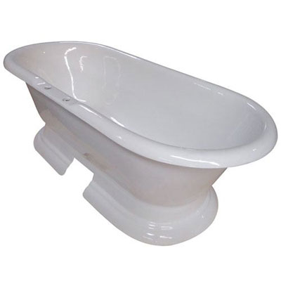 72-inch Large Cast Iron Double Ended White Pedestal Freestanding Bathtub