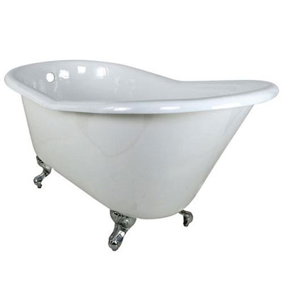 60-inch Small Cast Iron White Slipper Clawfoot Bathtub with Chrome Feet
