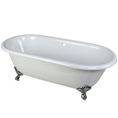 66-inch Large Cast Iron White Clawfoot Freestanding Bath Tub with Chrome Feet