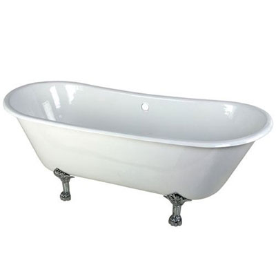 67-inch Large Cast Iron White Double Slipper Clawfoot Bathtub with Chrome Feet