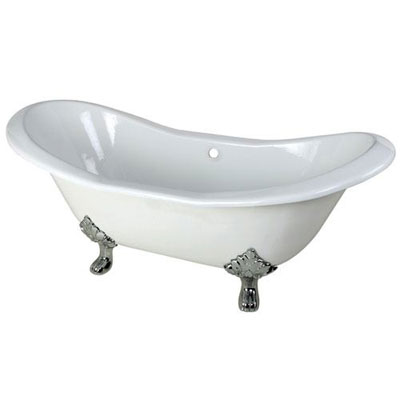 72-inch Large Cast Iron White Double Slipper Clawfoot Bath Tub with Chrome Feet