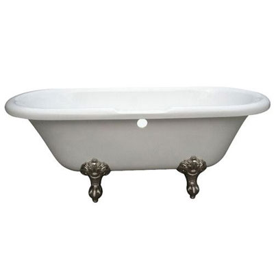 67-inch Double Ended White Acrylic Clawfoot Tub with Satin Nickel Lion Feet