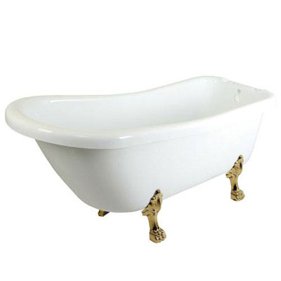 69-inch Large White Slipper Acrylic Clawfoot Bath Tub with Polished Brass Lion Feet