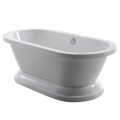 67-inch Contemporary Pedestal Double Ended Freestanding White Acrylic Bath Tub