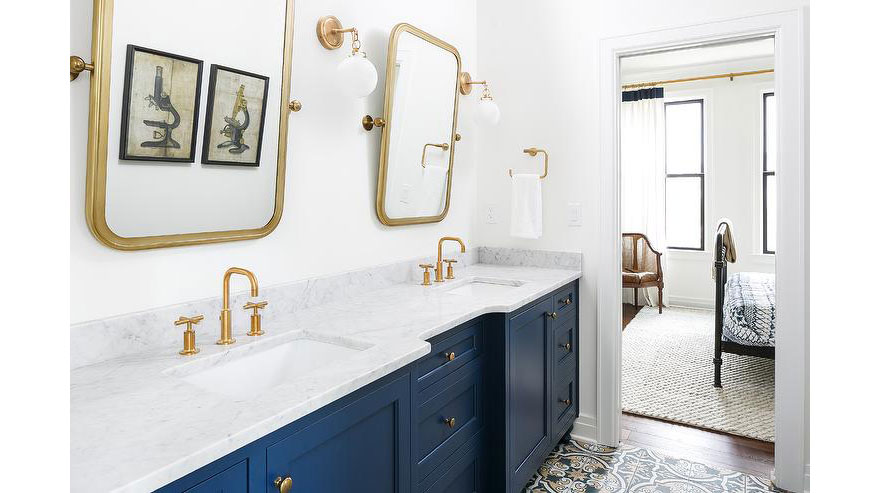 Blue Bathroom Vanity and Brushed Gold Fixtures Cement Mosaic Tile Floor
