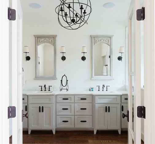 Bronze Finish Faucets Light Fixtures and Hinges with White Bathroom