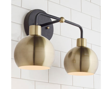 Brushed Gold and Black Wall Light Fixture