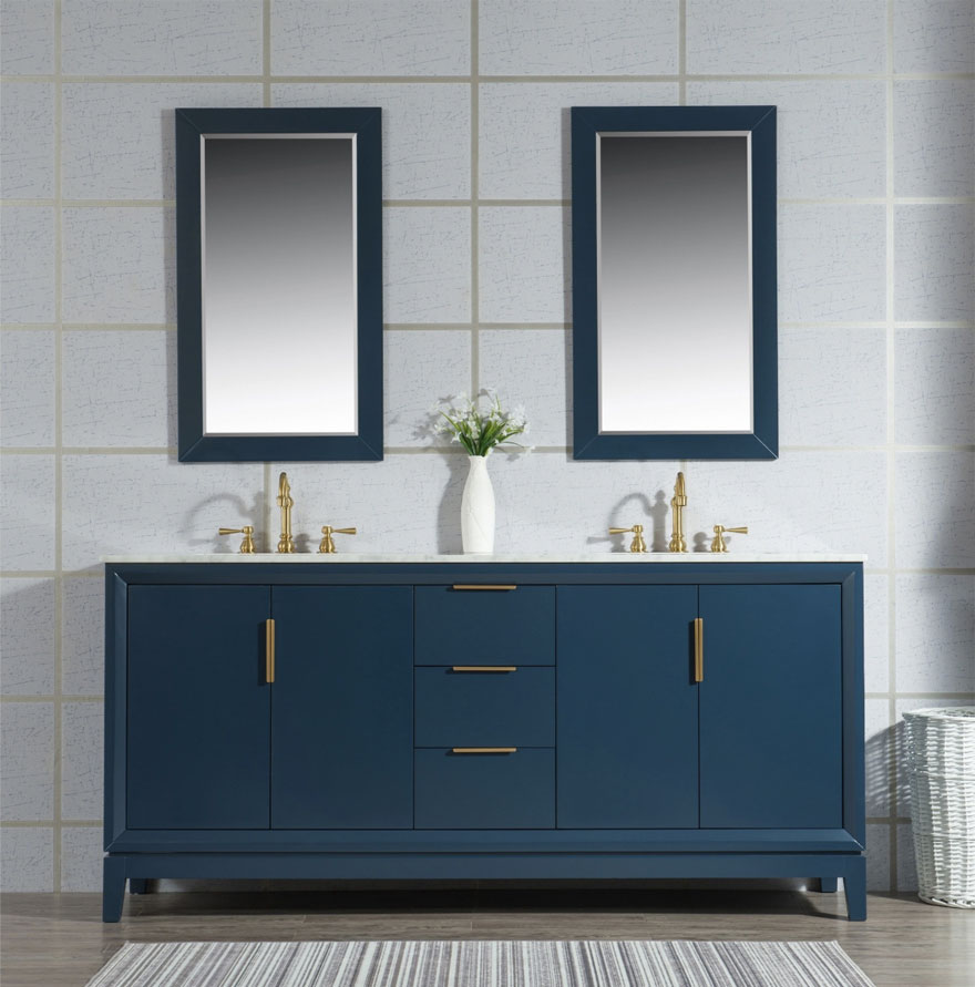 Brushed Gold Finish Fixtures with Navy Blue Vanity