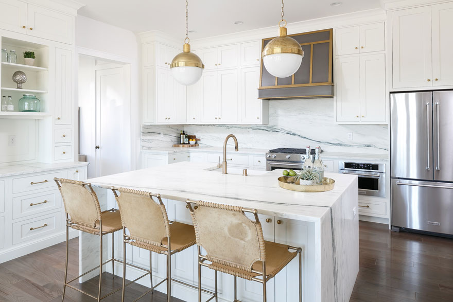 Brushed Gold Light Fixtures and Bar Stools Kitchen