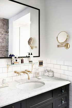Champagne Bronze Wall Mount Faucet and White Sink