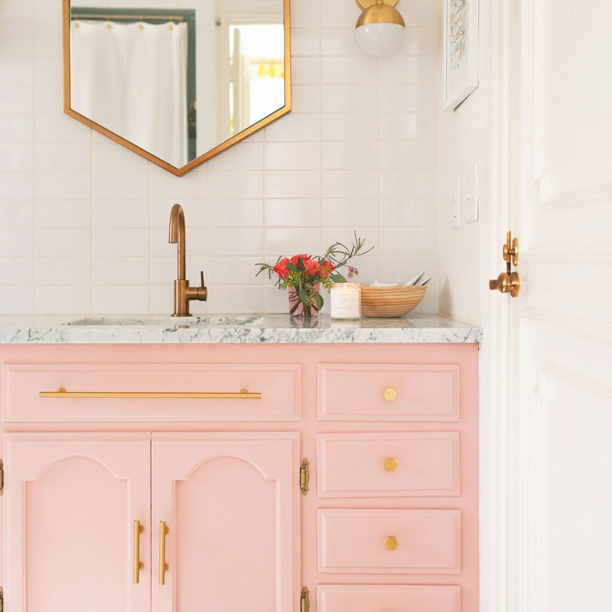 Champagne Bronze with Pink Bathroom Vanity