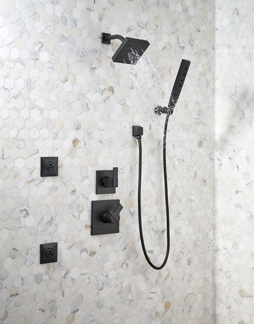 Delta Matte Black Finish Ara Collection Full Custom Shower System with Hand Shower and Body Sprays