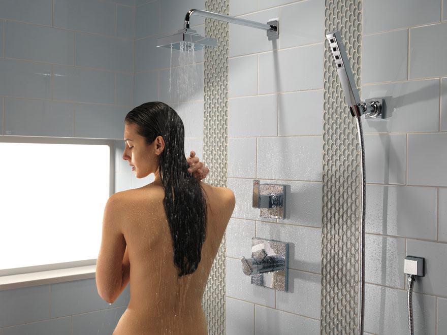 Delta Ara Chrome Finish Shower System with Hand Spray and Rain Shower Head