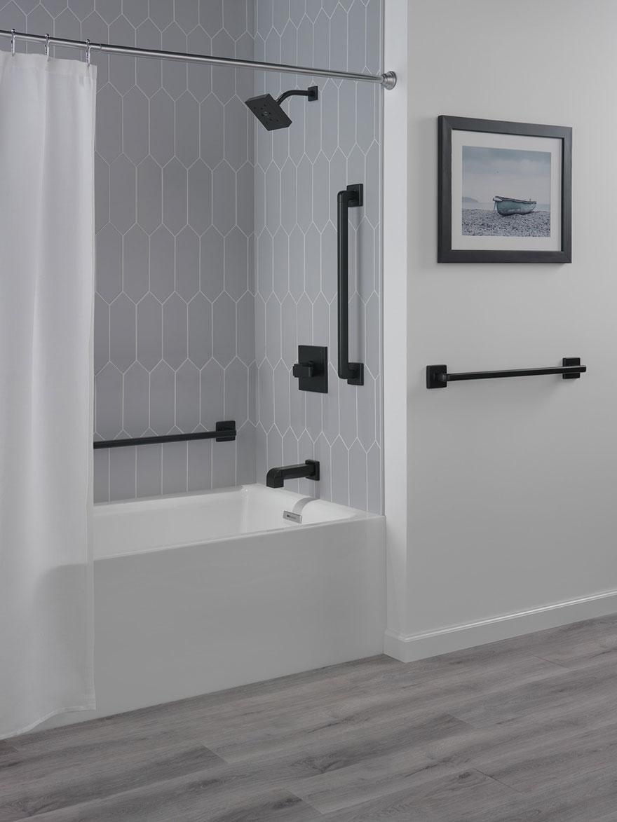 Delta Ara Collection Matte Black Bathroom Shower Safety Grab Bars