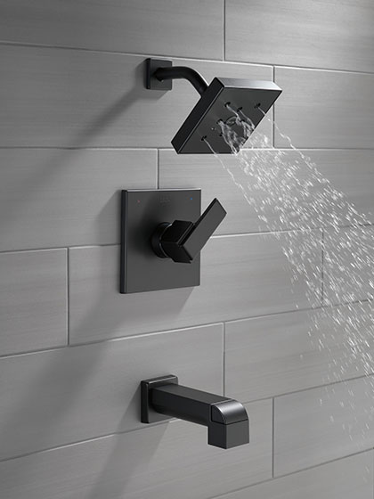 Delta Ara Collection Matte Black Finish Single Handle Tub and Shower Combination Faucet with Water