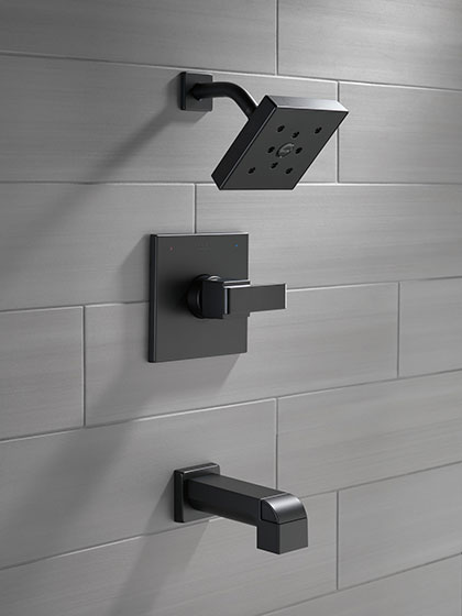 Delta Ara Collection Matte Black Finish Single Handle Tub and Shower Combination Faucet without Water