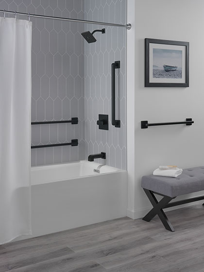 Delta Ara Collection Matte Black Finish Tub Shower Faucet with Grab Bars Bathroom