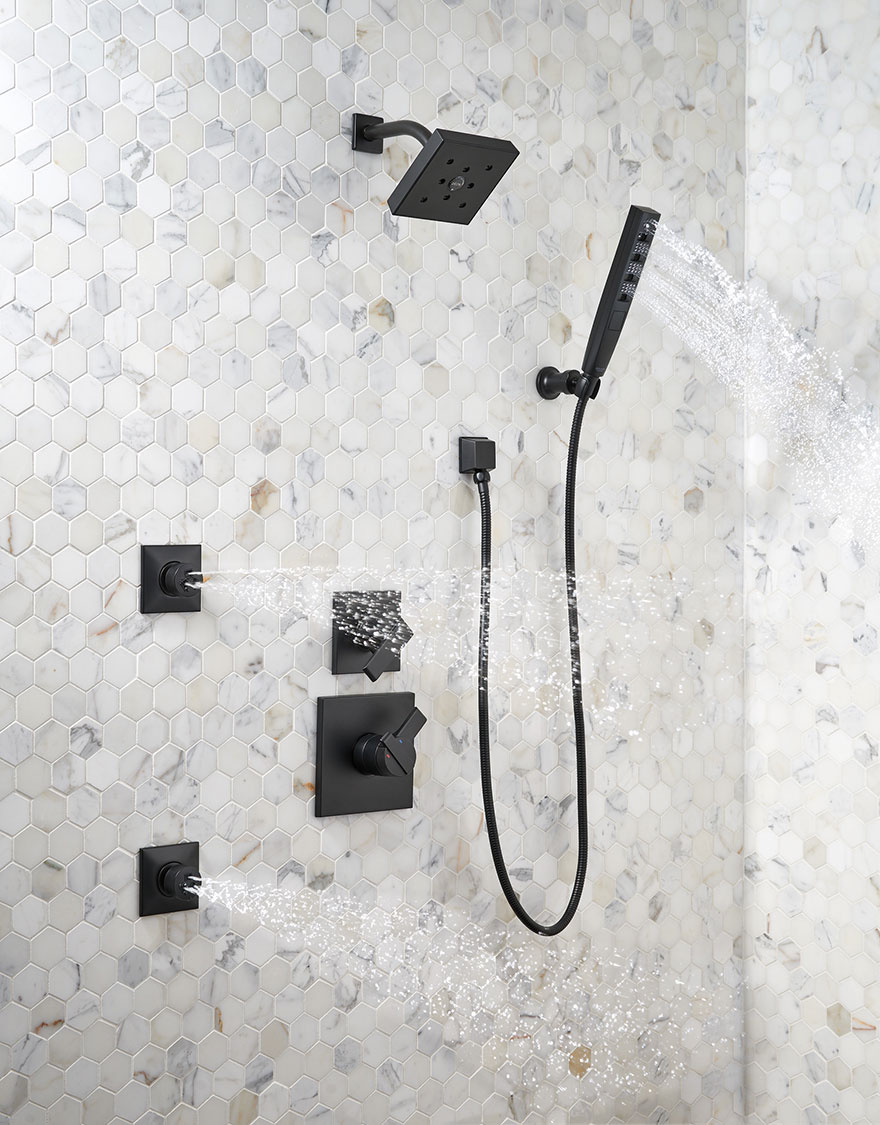 Delta Ara Collection Matte Black Shower System with Hand Shower and Body Sprays