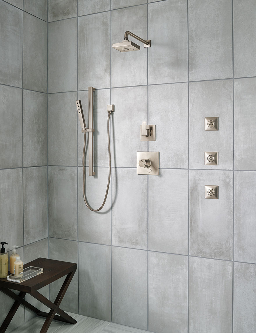 Delta Ara Stainless Steel Shower System with Body Sprays and Hand Shower