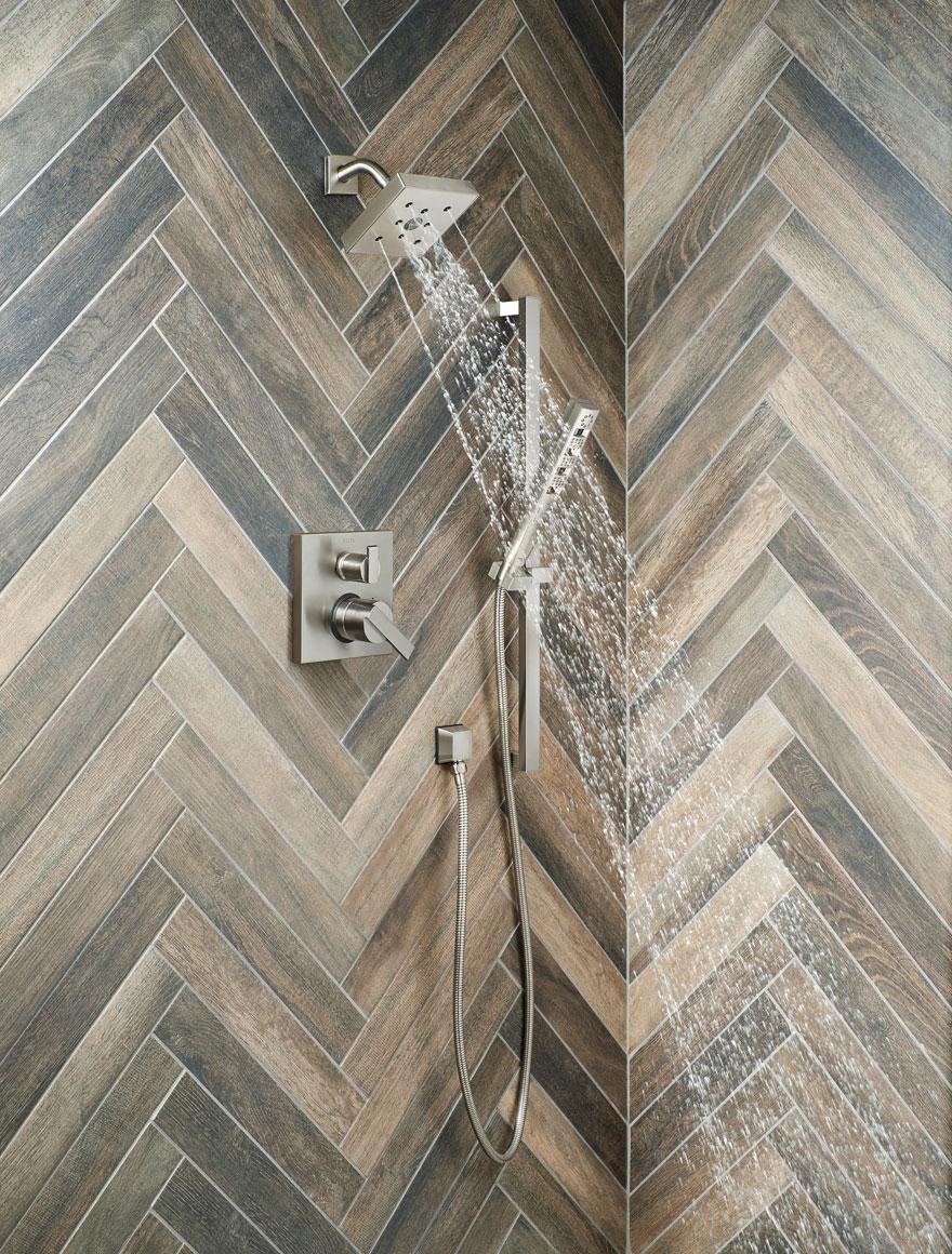 Delta Ara Stainless Steel Finish Integrated Diverter Shower System with Handheld Spray and Shower Head