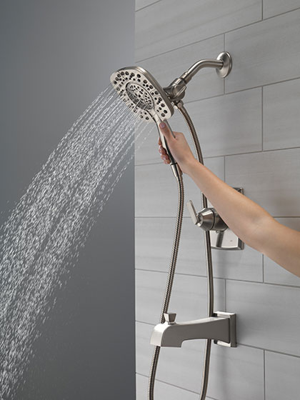 Delta Ashlyn Collection Stainless Steel Finish Tub Shower Faucet with Hand Shower and Showerhead Full Body Spray Setting