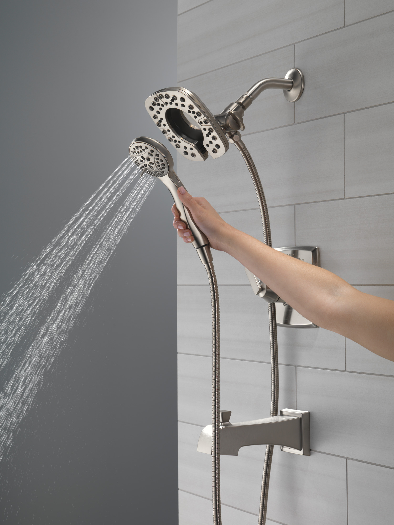 Delta Ashlyn Collection Stainless Steel Finish Tub Shower Faucet with Hand Shower Detached Running Full Body Spray Setting