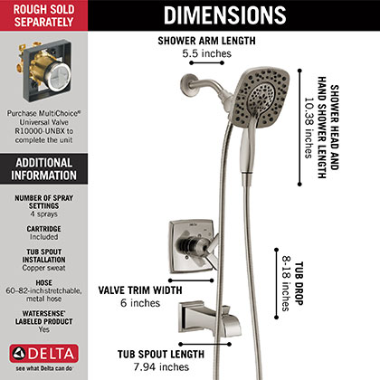 Delta Ashlyn Tub Shower Faucet In2ition Hand Shower Showerhead Combo Infographic