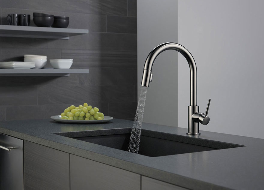 Delta Trinsic Collection Black Stainless Steel Finish Pull Out Kitchen Faucet