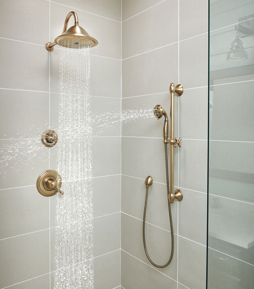 Delta Cassidy Champagne Bronze Shower System with Handshower and Rain Showerhead