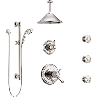 Delta Cassidy Shower Systems with Ceiling Mount Rain Showerhead