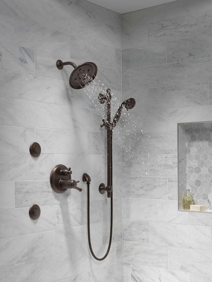 Delta Cassidy Collection Venetian Bronze Shower System with Body Sprays and Hand Shower