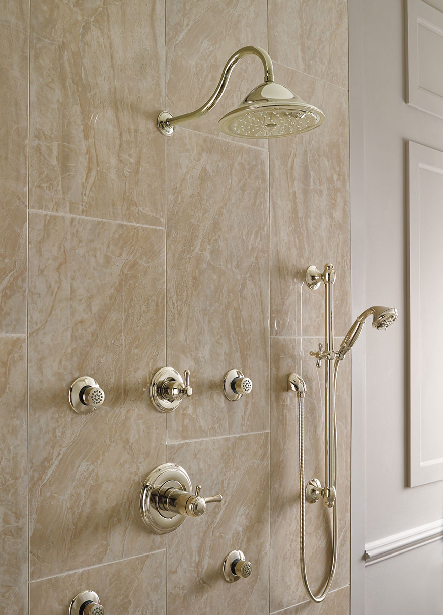 Delta Cassidy Collection Polished Nickel Finish Shower Systems with Rain Showerhead, Body Sprays, and Hand Shower