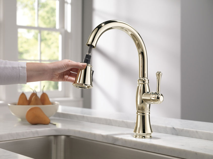 Delta Cassidy Polished Nickel Kitchen Faucet with Pull-out Sprayer